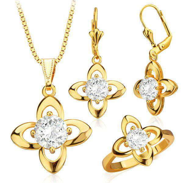 A Suit of Charming Faux Crystal Floral Necklace Earrings and Ring For Women