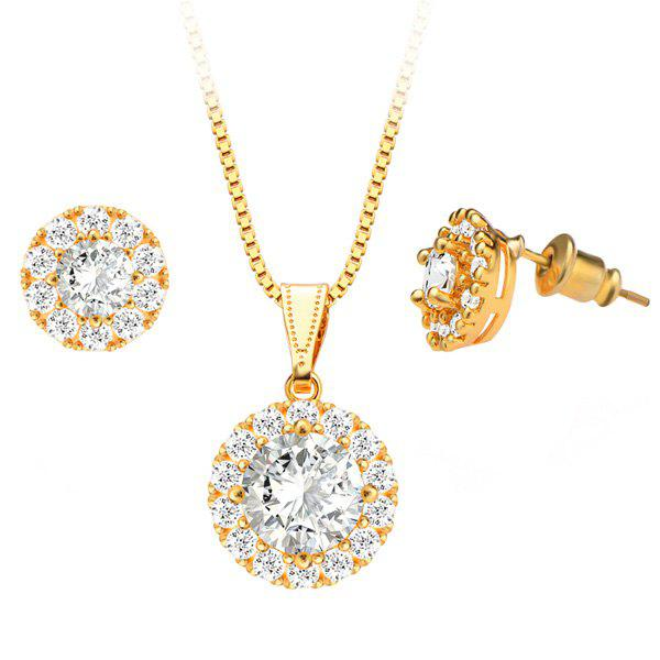 A Suit of Chic Style Faux Crystal Necklace and Earrings For Women - GOLDEN