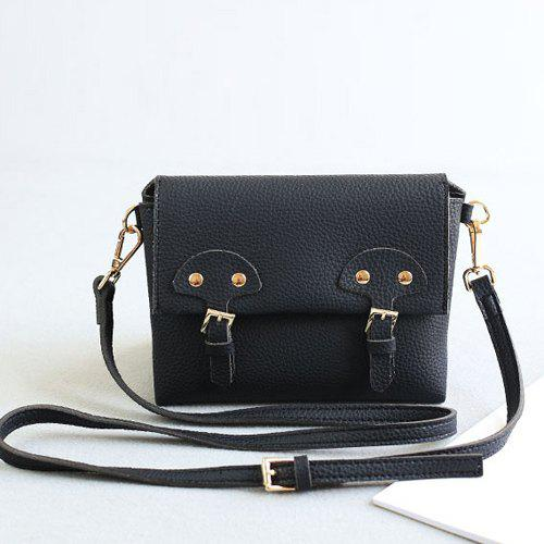 Fashionable Solid Color and Double Buckle Design Women's Crossbody Bag - BLACK
