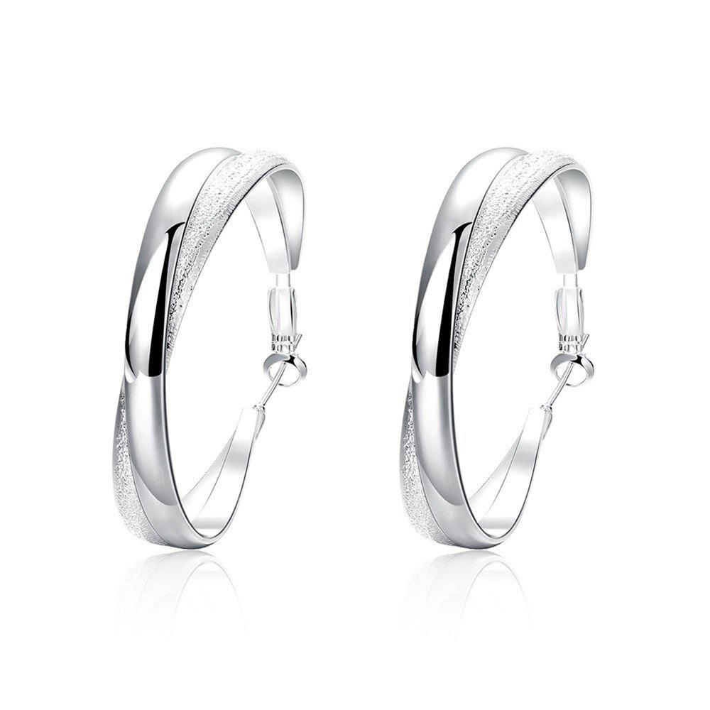 Pair of Geometric Etched Big Circle Hoop Earrings - SILVER