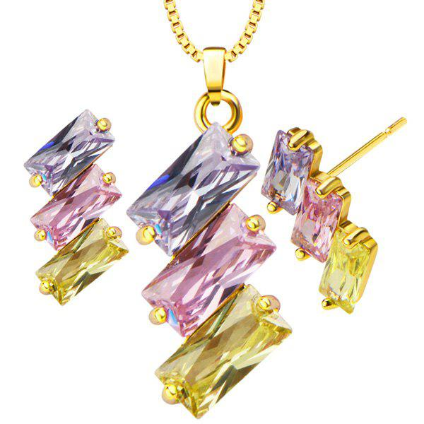 Faux Crystal Geometric Necklace and Earrings - GOLDEN