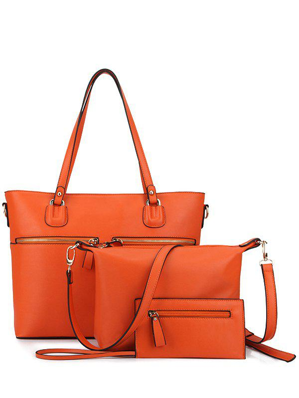 Trendy Zips and Solid Color Design Women's Shoulder Bag - ORANGE