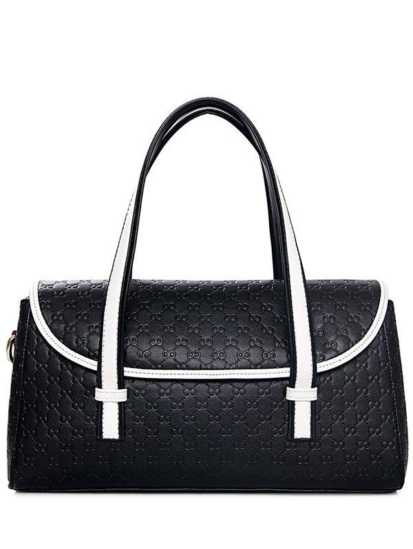Graceful Embossing and Color Block Design Women's Tote Bag - BLACK