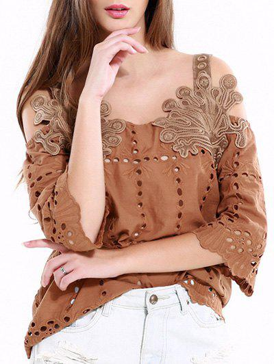 Vintage Hollow Out Solid Color Blouse - KHAKI 2XL