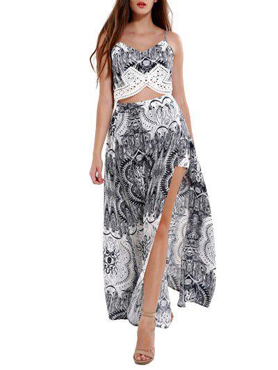 Spaghetti Strap Tribal Print Crop Top + High Slit Maxi Skirt - COLORMIX 3XL