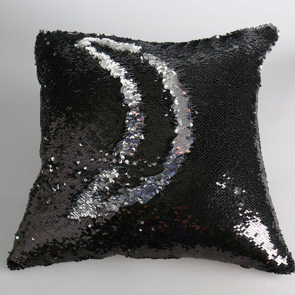 Creative DIY Pattern Black Silvery Two Tone Sequins Pillow Case - BLACK