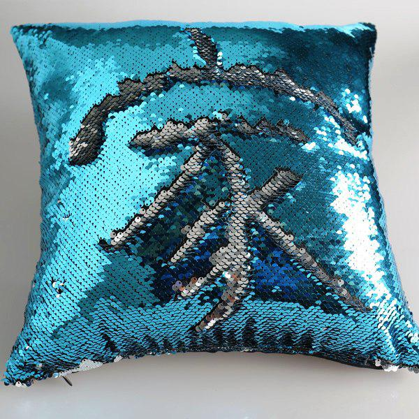 Creative DIY Pattern Blue Silvery Two Tone Sequins Pillow Case - BLUE