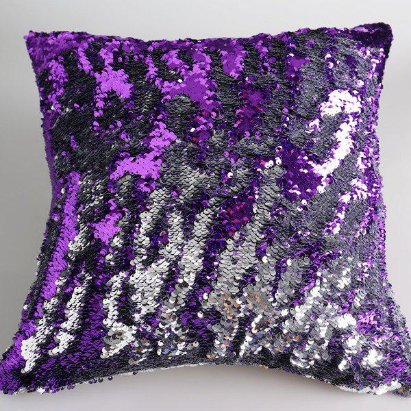 Creative DIY Pattern Purple Silvery Two Tone Sequins Pillow Case - PURPLE