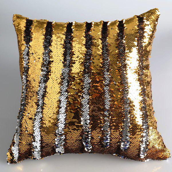 Creative DIY Pattern Golden Silvery Two Tone Sequins Pillow Case - GOLDEN