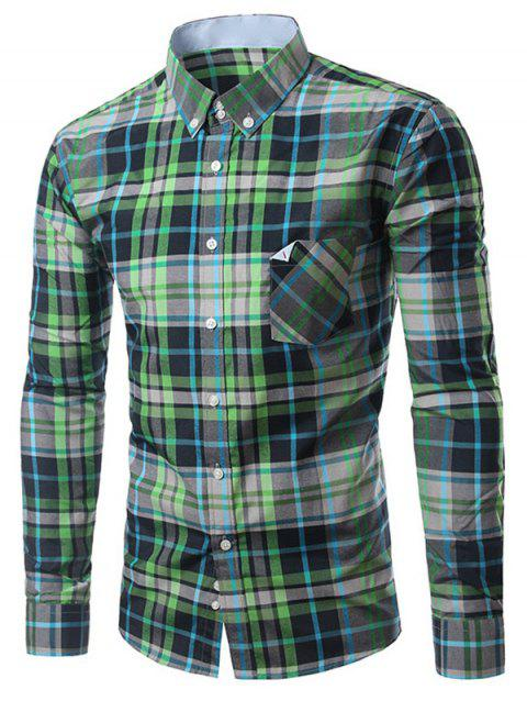 Chic Folded Pocket Long Sleeves Deep Green Tartan Shirt For Men - GREEN M
