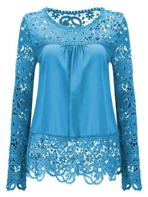 Solid Color Lace Spliced Hollow Out Blouse - AZURE M