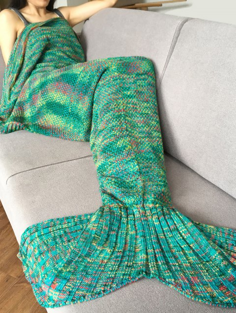 Super Soft Crochet Knitted Fashion Mermaid Tail Shape Blanket For Adult - GREEN
