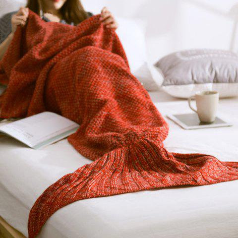 High Quality Yarn Knitted Mermaid Tail Blanket - RED S