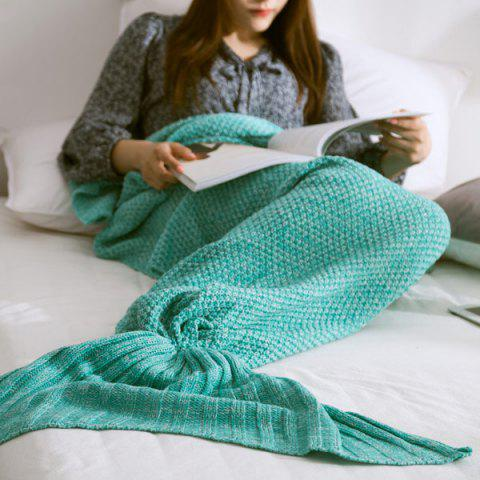 High Quality Yarn Knitted Mermaid Tail Blanket - MINT GREEN S