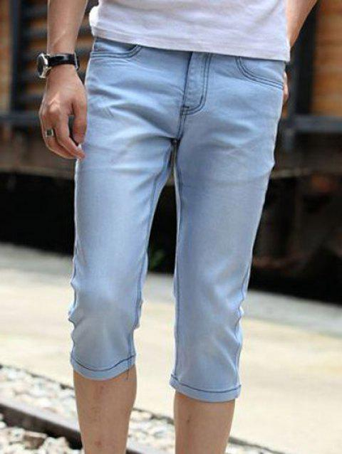 2019 Fashionable Bleach Wash Thin Skinny Denim Cropped Pants For Men