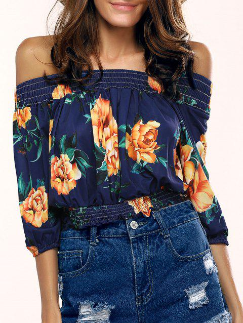 Stylish Off The Shoulder Floral Print Blouse For Women - PURPLISH BLUE XL