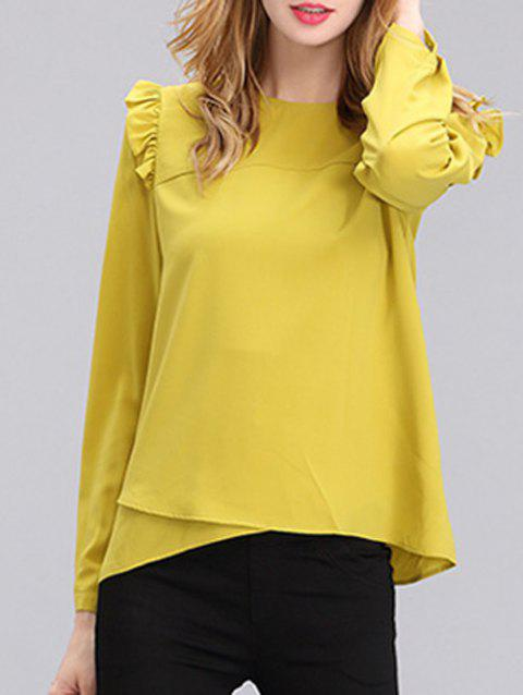 Chic Women's Pure Color Ruffled Long Sleeves Blouse - YELLOW S
