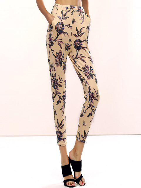 47360aa303827 2019 Refreshing Floral Print Skinny Pants For Women In COLORMIX L ...