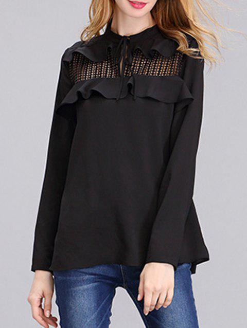Stylish Flounce Hollow Out Chiffon Shirt For Women - BLACK XL
