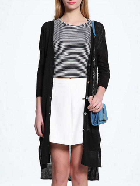 Candy Color V Neck Thin Cardigan - BLACK ONE SIZE