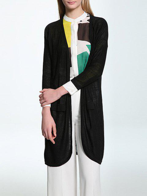 Candy Color Collarless Thin Cardigan - BLACK ONE SIZE