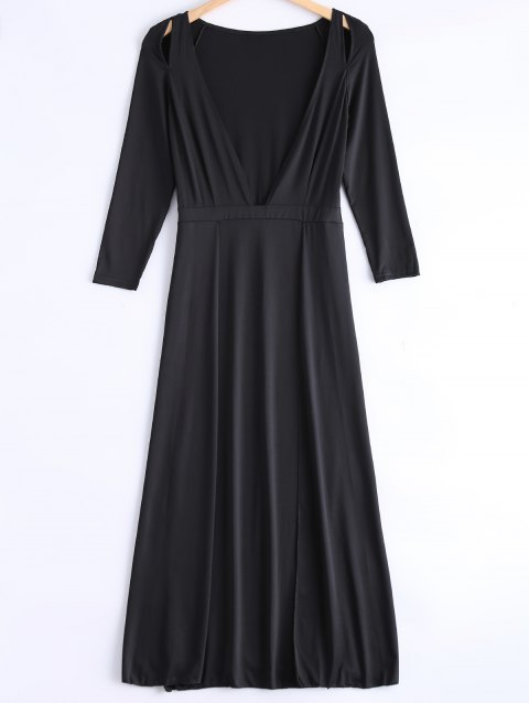 Cute Plunging Neck Long Sleeve Dress - BLACK S