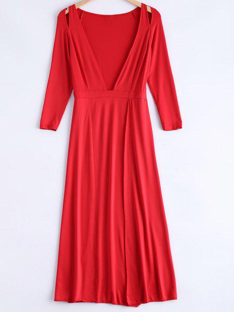 Cute Plunging Neck Long Sleeve Dress - RED M