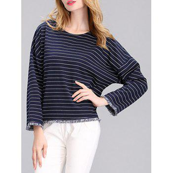 Simple Women's Striped Fringed Loose T-Shirt