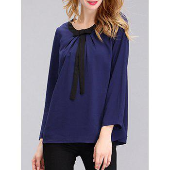 Simple Women's Pure Color Jewel Neck Bowknot Chiffon Blouse