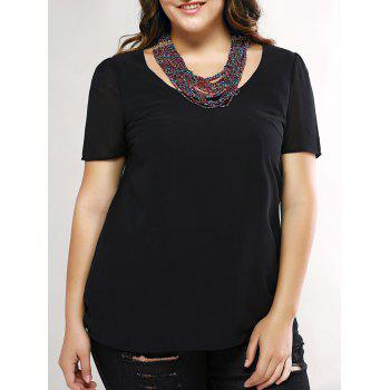 Plus Size Trendy Cut Out Black Blouse - BLACK BLACK