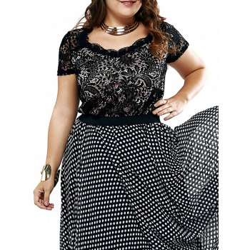 Plus Size Chic Lace Patchwork Layered Blouse - BLACK BLACK