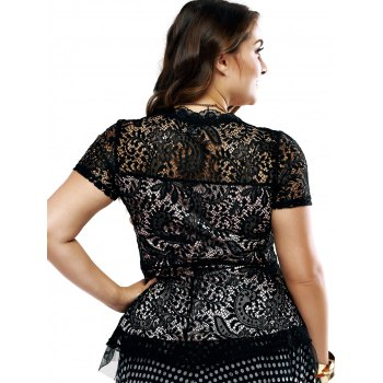 Plus Size Chic Lace Patchwork Layered Blouse - L L