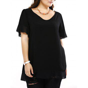 Plus Size Brief Flounced Sleeve Loose Blouse - BLACK L