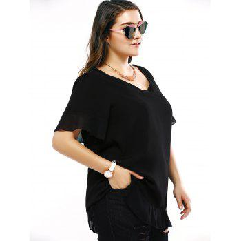 Plus Size Brief Flounced Sleeve Loose Blouse - L L