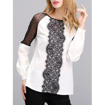 Mesh Lace Spliced Mesh Blouse
