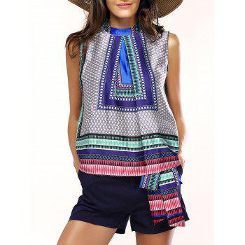 Asymmetric Geometric Ethnic Print Top and Drawstring Shorts Women's Twinset