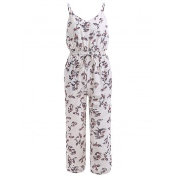 Cute Spaghetti Straps Floral Backless Jumpsuit For Women