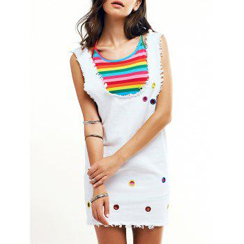 Cute Colorful Cami Top and Denim Overall Dress For Women