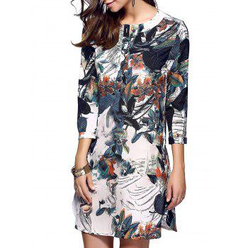Classical Beauty Print One Button Dress