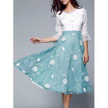 Laciness Splicing Ruffled Floral Dress