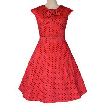 Retro Flavor Bow Tie Polka Dot Dress