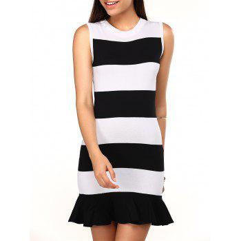 Knitted Striped Sleeveless Flounced Dress
