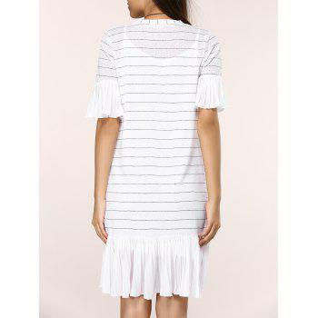 Striped Knitted Flare SLeeve Ruffled Dress Twinset - WHITE ONE SIZE