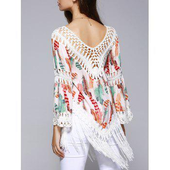 Ethnic Crochet Flare Sleeve Feather Print Blouse For Women