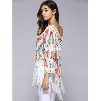 Ethnic Crochet Flare Sleeve Feather Print Blouse For Women - COLORMIX ONE SIZE