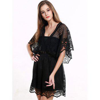 Black Lace Spliced Hollow Out Romper - BLACK L