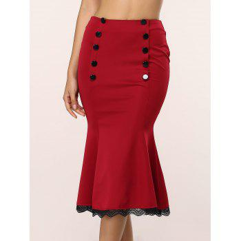 Buy Retro Style Women's Lace Splicing Fishtail Skirt WINE RED