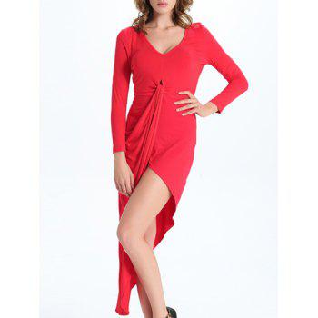 Chic V-Neck Asymmetrical Solid Color Women's Dress