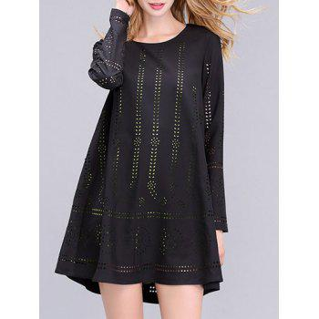 Trendy Long Sleeve Hollow Out Double-Layered Women's Dress