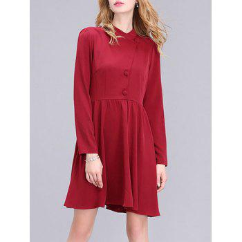 Stylish Button Design Solid Color Women's Dress